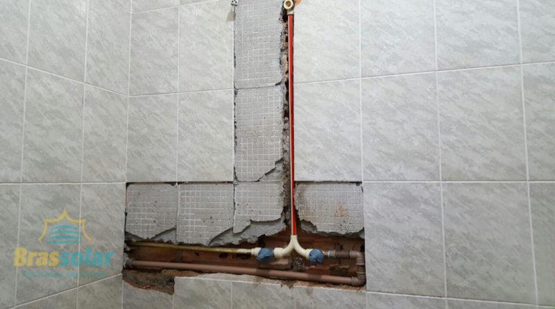 Instalação aquecedor solar sem quebrar paredes Chuveiro