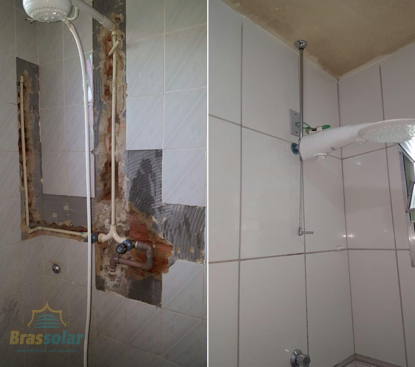 Instalação sem quebrar paredes Chuveiro